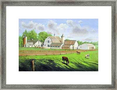 Framed Print featuring the painting Buckingham Horse Farm by Oz Freedgood