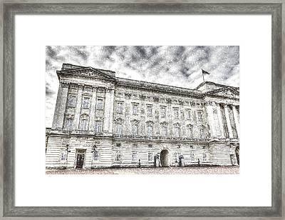 Buckingham Palace London Snow Framed Print by David Pyatt