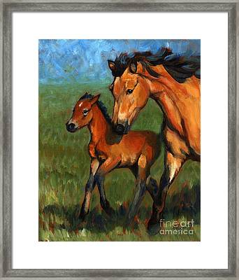 Buckskin And Baby Framed Print by Pat Burns