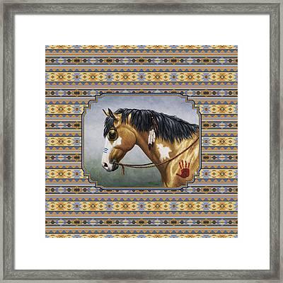 Buckskin Native American War Horse Southwest Framed Print by Crista Forest