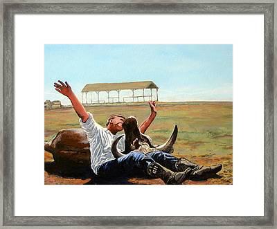 Bucky Gets The Bull Framed Print