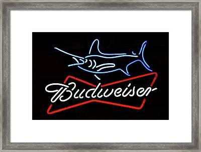 Bud Neon Fish Sign Fish Responsibly Framed Print