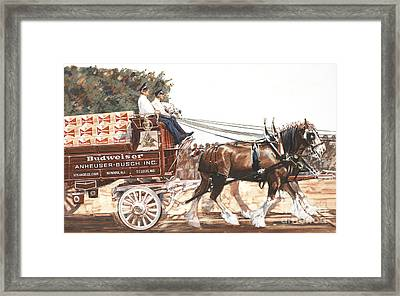 Bud Wagon And Horses Framed Print by Don Langeneckert