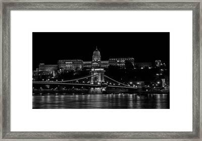 Buda Castle And Szechenyi Chain Bridge Over The Danube River Framed Print