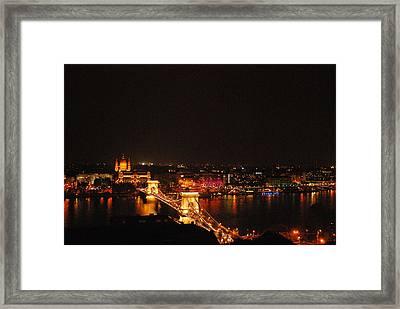 Budapest At Night Hungary Framed Print by Eva Ramanuskas