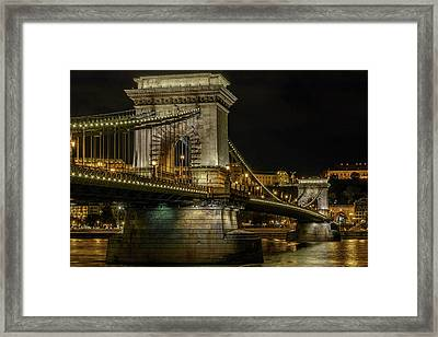 Framed Print featuring the photograph Budapest Chain Bridge by Steven Sparks