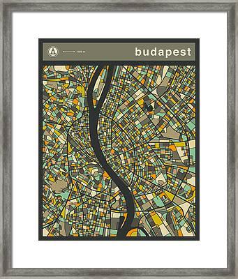 Budapest City Map Framed Print by Jazzberry Blue