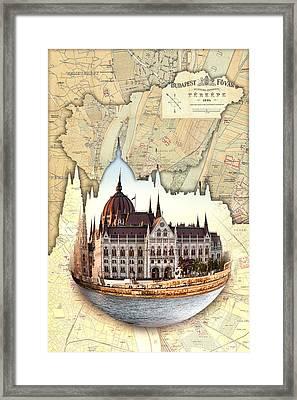 Budapest Globe Map Framed Print