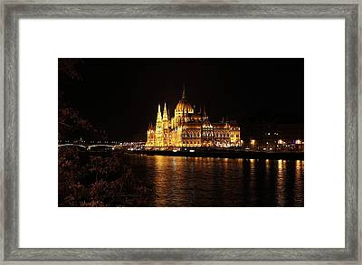 Framed Print featuring the digital art Budapest - Parliament by Pat Speirs