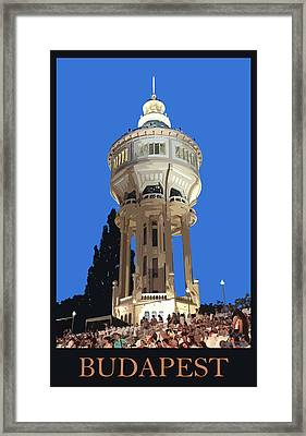 Budapest Poster - Margaret Island Water Tower Framed Print by James Dougherty
