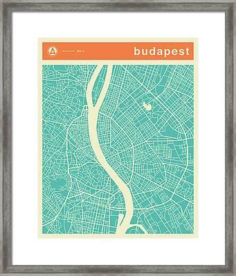 Budapest Street Map Framed Print by Jazzberry Blue