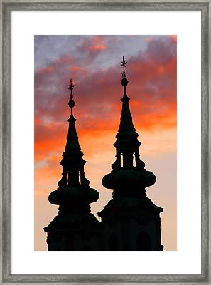 Framed Print featuring the photograph Budapest Sunset by KG Thienemann