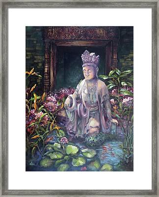 Budda Statue And Pond Framed Print