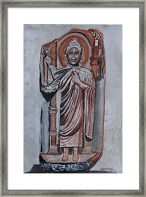 Framed Print featuring the painting Buddha 9 by Anand Swaroop Manchiraju