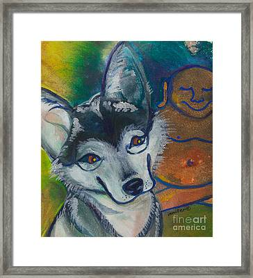 Buddha And The Divine Husky No. 1327 Framed Print by Ilisa Millermoon