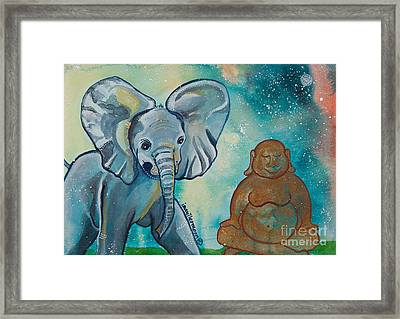 Buddha And The Divine Baby Elephant No. 1376 Framed Print by Ilisa Millermoon