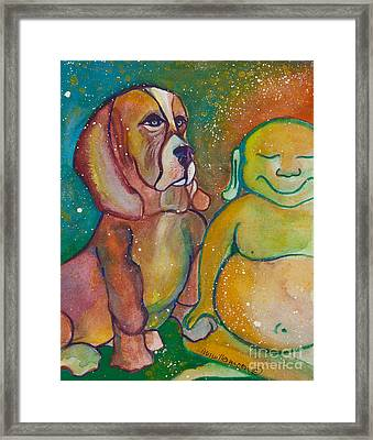 Buddha And The Divine Basset Hound No. 1318 Framed Print by Ilisa Millermoon