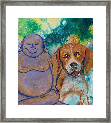 Buddha And The Divine Beagle No. 1325 Framed Print by Ilisa Millermoon