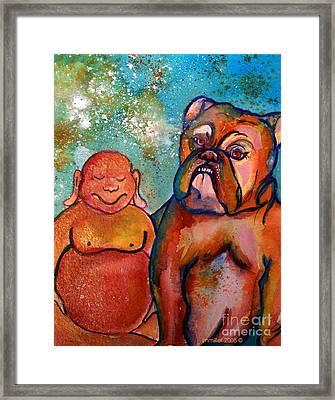 Buddha And The Divine Bulldog No. 1316 Framed Print by Ilisa Millermoon