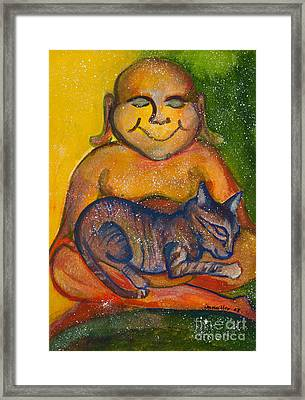 Buddha And The Divine Feline No. 1237 Framed Print by Ilisa Millermoon