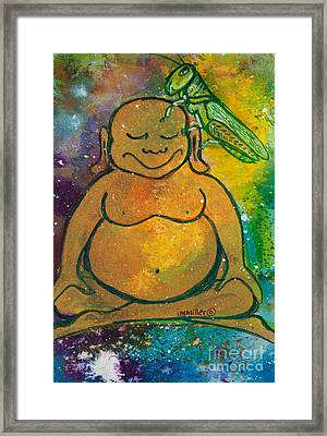 Buddha And The Divine Grasshopper No. 1309 Framed Print by Ilisa Millermoon