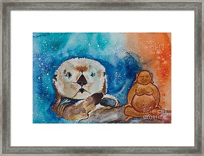 Buddha And The Divine Otter No. 1374 Framed Print by Ilisa Millermoon