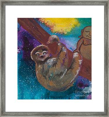 Buddha And The Divine Sloth No. 2087 Framed Print by Ilisa Millermoon
