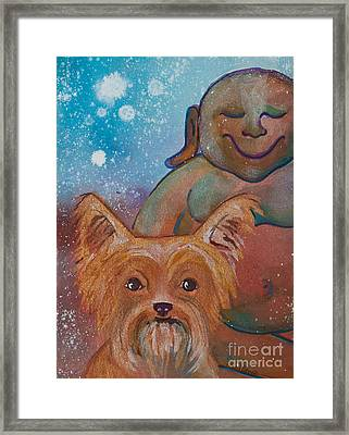 Buddha And The Divine Yorkie No. 1326 Framed Print by Ilisa Millermoon