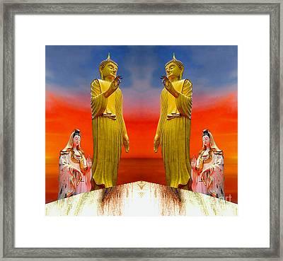 Buddha And Quan Yin Asian Gods Framed Print