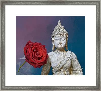 Buddha And Rose Framed Print by Pete Trenholm