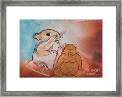 Buddha And The Divine Gerbil No. 2278 Framed Print by Ilisa Millermoon