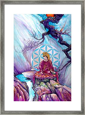 Buddha And The Flower Of Life Framed Print