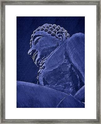Buddha At The Golden Triangle - Blue Sketch Framed Print by Fini Gamundi