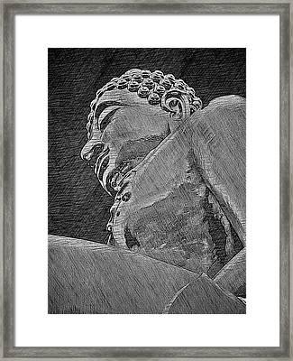Buddha At The Golden Triangle - Grey Sketch Framed Print by Fini Gamundi