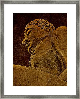 Buddha At The Golden Triangle - Sepia Sketch Framed Print by Fini Gamundi
