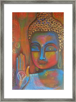 Framed Print featuring the painting Buddha Blessings by Prerna Poojara