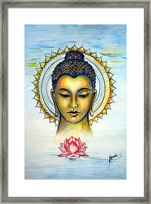 Buddha Bliss Where Ocean Meets The Sky Framed Print by Harsh Malik