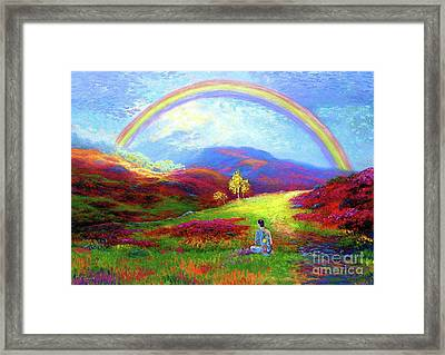 Buddha Chakra Rainbow Meditation Framed Print by Jane Small