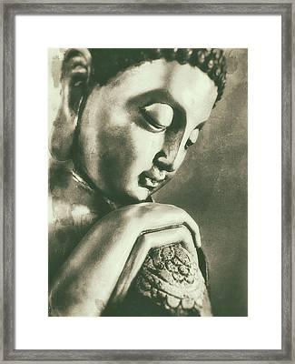 Buddha Close Sepia Framed Print