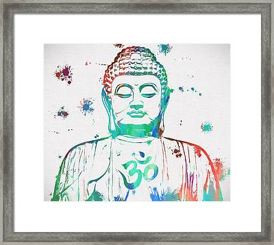 Buddha Color Paint Splatter Framed Print by Dan Sproul
