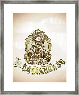 Buddha Drawing - Warm Vintage Style Spiritual Buddhism  Art Framed Print by Wall Art Prints