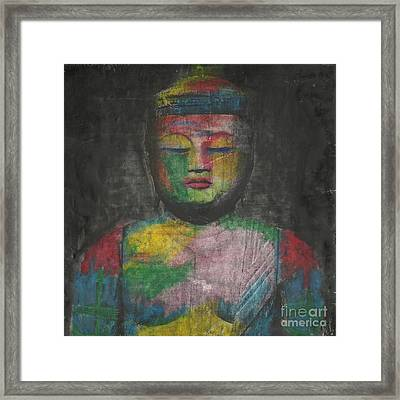 Buddha Encaustic Painting Framed Print by Edward Fielding