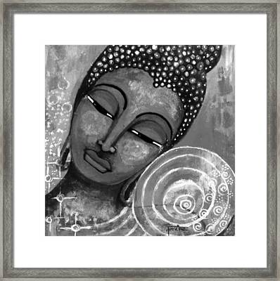 Buddha In Grey Tones Framed Print