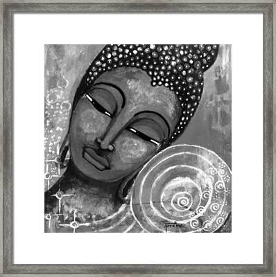 Buddha In Grey Tones Framed Print