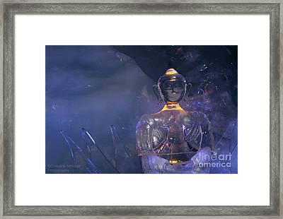 Buddha In Ice Framed Print by Christine Amstutz