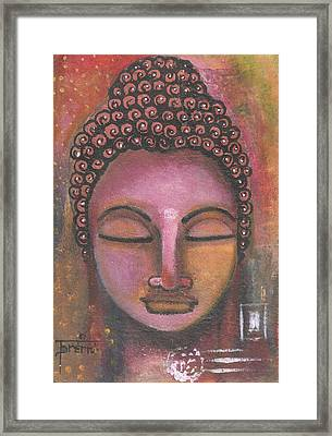 Framed Print featuring the mixed media Buddha In Shades Of Purple by Prerna Poojara