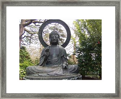 Buddha In The Woods Framed Print by Sharon Donahue