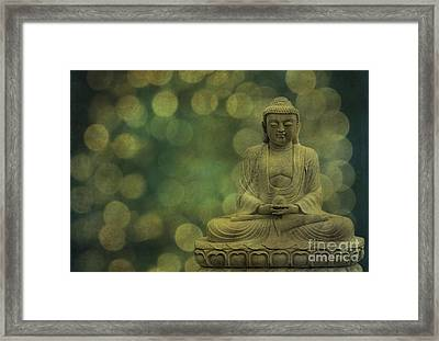 Buddha Light Gold Framed Print by Hannes Cmarits