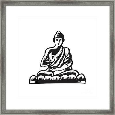 Buddha Lotus Pose Woodcut Framed Print by Aloysius Patrimonio
