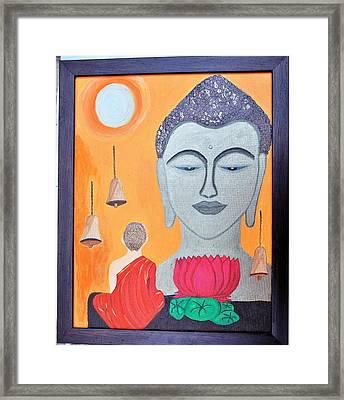 Buddha N Little Monk Framed Print
